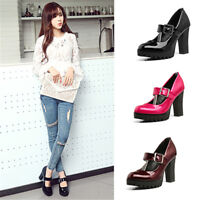 New Womens Block High Heels Mary Jane Patent Leather Buckle Pumps Platform Shoes