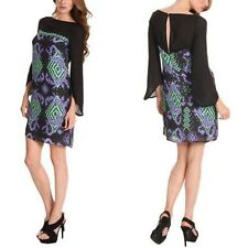 $1,219 Versace Black Silk, Long Sleeve, Above Knee, Shift Dress- Size 38- Size 2