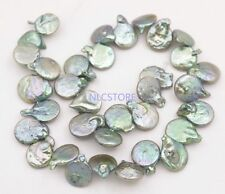 "15mm-18mm Top hole green baroque Coin pearl stone loose beads 15"" long strand"