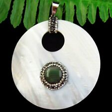 Natural White Shell Inlay Green Onyx Agate Round Pendant Bead D84174