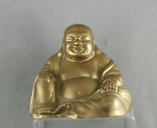 Heavy Gauge Vintage Chinese Solid Brass Happy Buddha Statue Circa 1930s