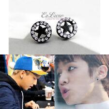 KPOP B1A4 BEAST Black Star Cubic Round Magnetic Non-Pierced No Piercing Earrings