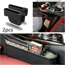 2PCS Black Car Seat Gap Catcher Organizer Storage Box Pocket w/ Blue LED 4 USB