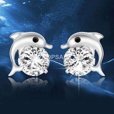 925 Dolphin Sterling SilverRhinestone crystal Earrings