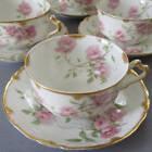 8 Antique HAVILAND Porcelain Cups + Saucers BALTIMORE ROSE Pink Roses GILT Trim