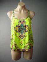 Bright Colorful Exotic Moroccan Ethnic Print Strappy Cami Top 132 mv Shirt S M L