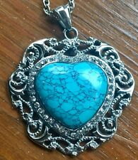 💙 Blue Howlite Heart Stainless Steel Necklace with Chain