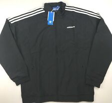 Adidas Orginals Mens Large Black Woven L/S Full Zip Track Top Jacket $75 Retro