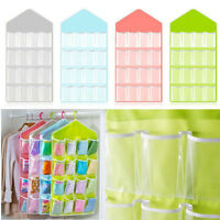 16 Pockets Clear Over Door Hanging Bag Shoe Rack Hanger Storage Organizer Solid