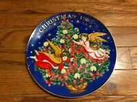 "Avon Christmas Plate 1995 ""Trimming The Tree"" Porcelain 22K Gold Trim Angel Tree"