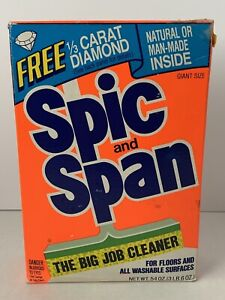 Vintage Spic and Span Floor Cleaner Box 1/2 Full  Open Box 1985 Used
