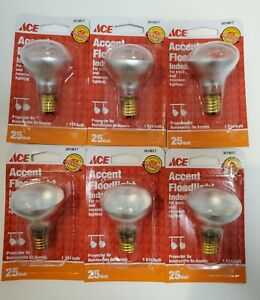 LOT OF 6 ACE 25 WATT R14 Accent Floodlight Bulb, Intermediate Base 3019817
