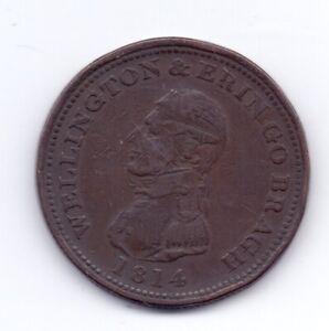 1814 Dublin Ireland Copper One Penny Advertising Token 19th Century E Stephens