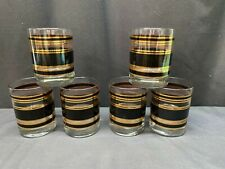 """Set of 6 ~ Double Old Fashioned Glass Tumblers ~ Black / Gold ~ 4 1/4"""" Tall"""