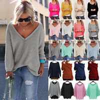 Damen Winter Langarm Stricken Pullover Strickpulli Sweatshirt Sweater Tops Bluse