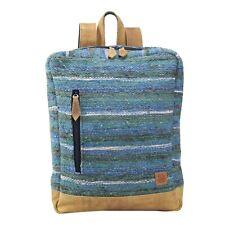 Backpack Laptop Bag Handmade Medium Natural Wool Adjustable Leather Strap Zip