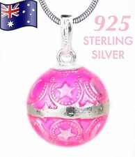 Pink 925 Sterling Silver Angel Caller Harmony Chime Ball Bola Pendant Necklace