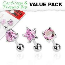 3 16G Surgical Steel Pink CZ Prong Tragus Cartilage Helix Piercing Stud Earrings