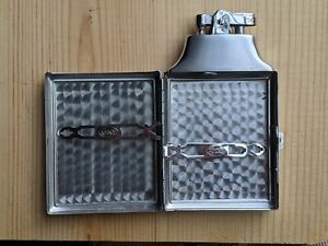 Vintage Ronson Cigarette Case Lighter Silver Tone Stainless Steel Collectible