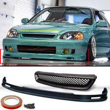 Fits 99-00 Honda Civic EK 2DR 3DR 4DR Mugen Style Front Bumper Lip + Mesh Grille