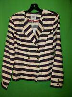 0642) NWT CABI  10 beige blue red cotton blend blazer jacket fitted new 10