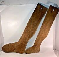 2 Primitive Antique Handmade Wood Child & Adult Set Wooden Sock Stretcher Forms