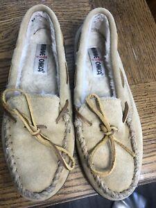 Minnetonka Pile Lined Hardsole 3501 Slippers Women's Size 7 Tan