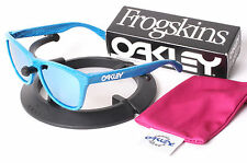 New Oakley FingerPrint Sky Blue Frogskins w/ Custom Silver Ice Polarized Lenses