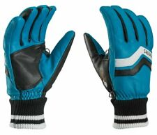 $150 Leki Progressive Iridium Trigger S ALL Leather Ski Gloves Womens Blue Black
