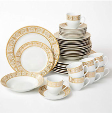 Brylanehome 40-Pc. Golden Ceramic Dinnerware Set (24K Gold White)