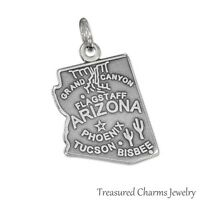 .925 Sterling Silver STATE OF ARIZONA CHARM Grand Canyon Flagstaff PENDANT