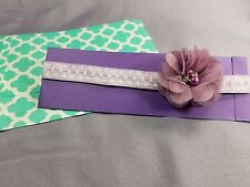 Lavender Floral Baby Headband by Kim's Design | Handmade in US | 14 Inches 3-6M