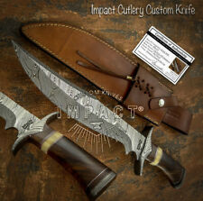 IMPACT CUTLERY RARE CUSTOM DAMASCUS BOWIE KNIFE BURL WOOD HANDLE