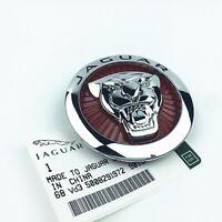85mm Jaguar Rot Silber Emblem Logo Vorne Grill Haube Motorhaube Kühlergrill NEU