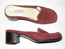 7 M Burgandy Rust Red Suede Leather Ladies Shoes Aerosoles Mules Oxfords Lucie 7