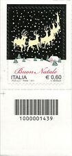 2011 francobollo Natale Laico SX CON CODICE A BARRE 1439