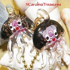 PINK FLORAL JELLYFISH GLITTER GLASS CEILING FAN LIGHT SWITCH PULL LG PAIR J122