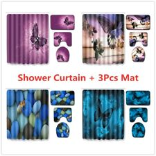 Butterfly Shower Curtain Set Bathroom Rug Bath Mat Non-Slip Toilet Seat Cover