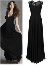 Ladies Long Chiffon Lace Evening Formal Party Ball Gown Prom Bridesmaid Dress
