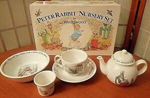 Vintage 8pc Lot Wedgewood Peter Rabbit Nursery Set 3pc NEW SEALED Plate Tea Pot