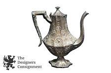 Antique KS Marked Silver Plate Repousse Coffee Tea Pot Pitcher Cherubs Ornate