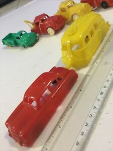 VTG RENWAL THOMAS TOYS IDEAL HARD PLASTIC RED SEDAN CAR TRAILER CAMPER 1:43 USA