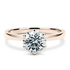 14k White Gold Round Cut Solitaire Prong Moissanite Engagement Ring 6