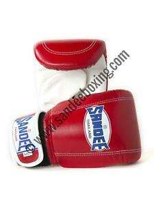 Sandee Hook and Loop Red & White Leather Bag Gloves/Mitts MMA Muay Thai Boxing