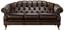 Chesterfield Victoria 3 Seater Antique Brown Leather Sofa Settee