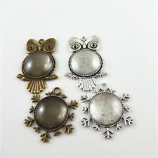 4 Sets/lot Zinc Alloy Mixed Snowflake Owls Cameo Base With Glass Covers Pendants