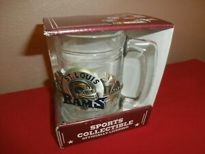 Collectible NFL ST LOUIS RAMS Glass & Pewter Mug GREAT AMERICAN PRODUCTS ~ NOS