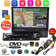"7"" Single 1Din Car Radio Stereo DVD Player GPS Navigation With Map Bluetooth+Cam"