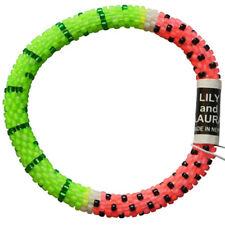 """LILY and LAURA """"Watermelon"""" Hand Crocheted Bead Stretch Bracelet ~Made in Nepal~"""