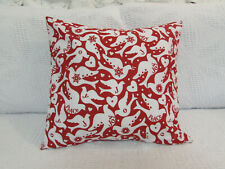 Fun Cushion Cover, Red, White, Peace and Joy, Doves, Birds, Cotton.